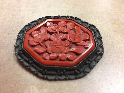 Antique Chinese Export Black Filigree craved Cinnabar red lacquer pin brooch