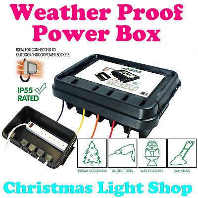 DriBox Outdoor Power Extension Cord Box Christmas Light Weather Proof IP55 BLACK