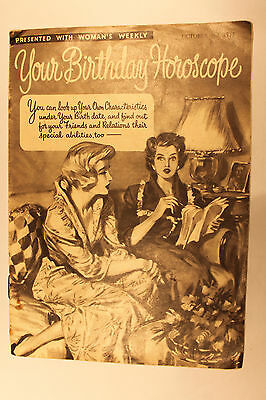 Your Birthday Horoscope Woman's Weekly October 1954 Supplement Insert GC