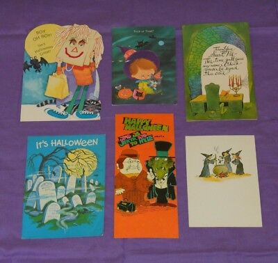 vintage HALLOWEEN GREETING CARDS lot of 6 by Norcross (set B)