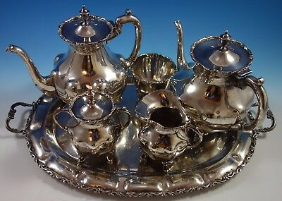 A. Torres Vega Mexican Sterling Silver Tea Set 5pc with Tray (#1701)