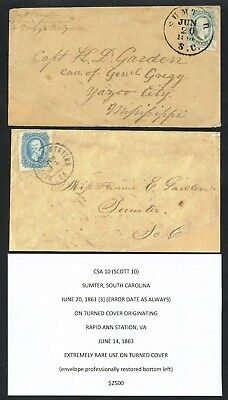 Csa #10 Sumter, S.c. 6/20/1861 (3) Error Date On Turned Cover Ext Rare Wlm4381