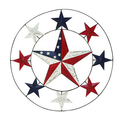 DESIGNER METAL STAR Wall Decor Red White Blue American Flag Color ...