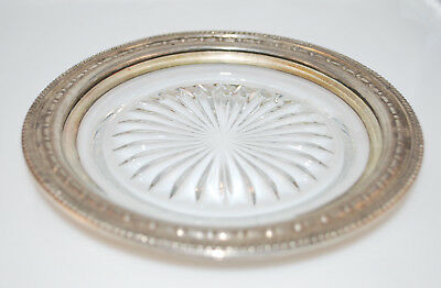 Vintage Glass Plate/Dish with Sterling Silver Rim - 6.5 Inches