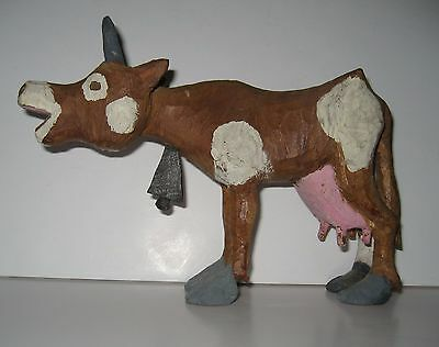 "Hand carved Hand-Painted Brown & White Folk Art Wood Cow 7.5"" x 4.5"""