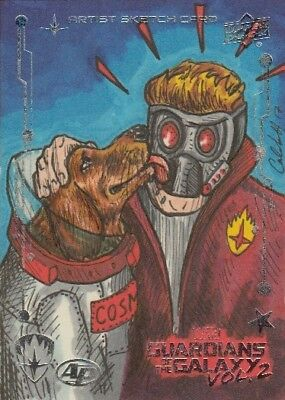 UD Guardians of the Galaxy Vol. 2 Artist proof sketch card Starlord Cosmo 1/1
