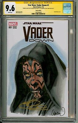 Vader Down  #1  Cgc Ss 9.6  Signed By Ray Park & Sketched By John Watson