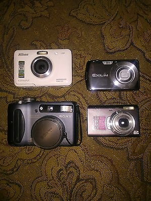 Lot of 4 Digital Cameras Sony Casio Nikon Sanyo Estate Sale Find Untested