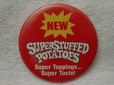 1984 ARBY's Stuffed POTATOES Super Toppings Taste PINBACK Pin Button Restaurant