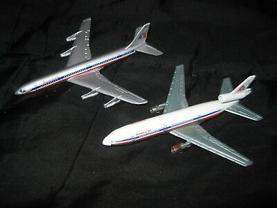 Lot of 2 Vintage Diecast American Airlines Jets Lintoy DC-8 Play Art DC-10