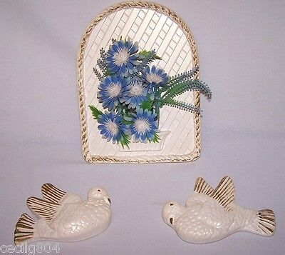 Vintage 1979 Miller Studio Inc. Pr. Of Doves And Arched Decor Chalkware Lot Of 2