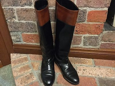 CABLE & CO Retro/Vintage 80's Black & Tan Leather Boots Size 37 Made in Italy