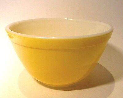 Small Vintage Yellow and White Pyrex Ovenware Bowl Made in U.S.A.