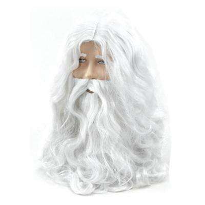 New Christmas Halloween White Santa Fancy Dress Costume Wizard Wig and Beard Set