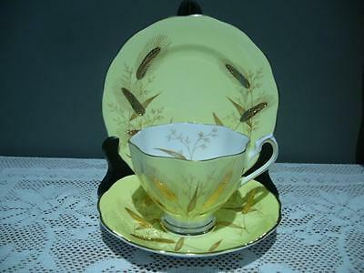 Vintage Queen Anne Bone China Heavily Gilt Yellow Trio - Cup Saucer Plate - Vgc