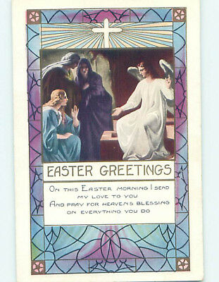 Pre-Linen easter religious ANGEL APPEARS TO WOMEN AT JESUS TOMB hr2545