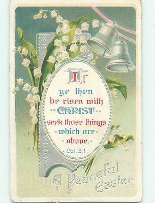 Pre-Linen easter COLOSSIANS BIBLE QUOTE & LILY OF THE VALLEY FLOWERS hr2646