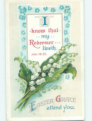 Pre-Linen easter JOB BIBLE QUOTE & LILY OF THE VALLEY FLOWERS hr2674
