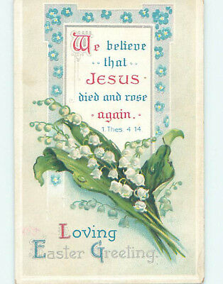 Pre-Linen easter THESSALONIANS BIBLE QUOTE & LILY OF THE VALLEY FLOWERS hr2647