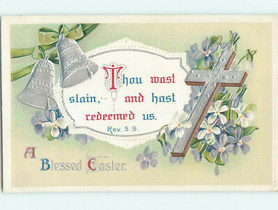 Pre-Linen easter REVELATIONS BIBLE QUOTE & CROSS WITH FLOWERS AND BELLS hr2652