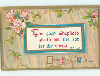 Pre-Linen easter religious JOHN BIBLE QUOTE WITH PINK FLOWERS hr2671