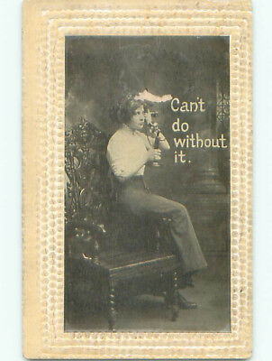Pre-Linen risque WOMAN ON ANTIQUE TELEPHONE SAYS SHE CAN'T DO WITHOUT IT J0218