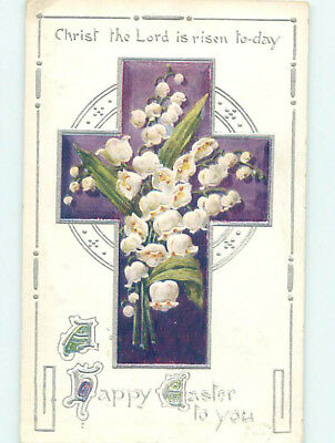 Pre-Linen easter religious LILY OF THE VALLEY FLOWERS IN JESUS CHRIST hr2288