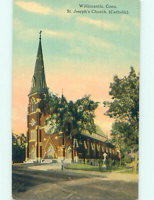 Unused Divided Back CHURCH SCENE Willimantic Connecticut CT hs7417