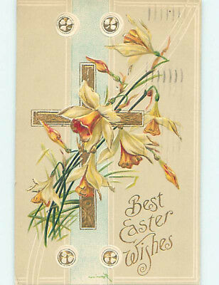 Pre-Linen easter religious BEAUTIFUL DAFFODIL FLOWERS WITH JESUS CROSS hr2419