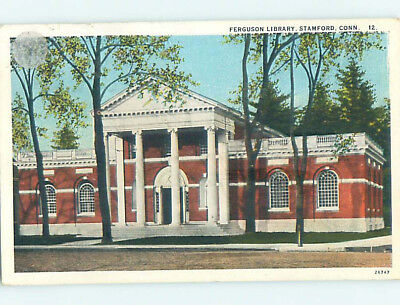 Damaged W-Border LIBRARY SCENE Stamford Connecticut CT hs2662