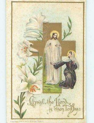 Pre-Linen easter religious WOMAN KNEELS BEFORE JESUS CHRIST BY THE CROSS hr2450