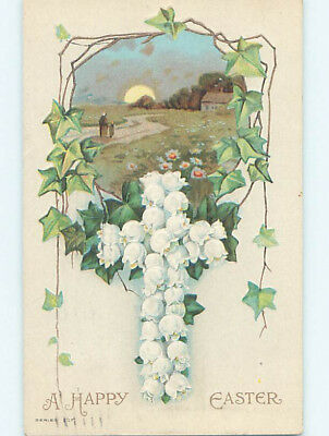 Pre-Linen easter religious JESUS CROSS MADE OF LILY OF THE VALLEY FLOWERS hr2344