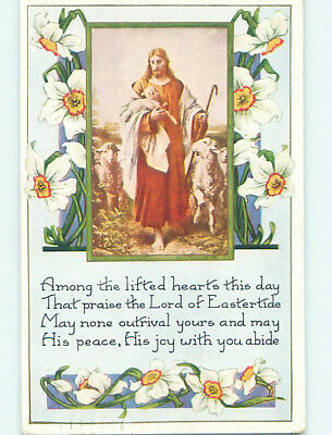 Pre-Linen easter religious JESUS CHRIST CARRIES BABY LAMB IN SHEEP FLOCK hr2493