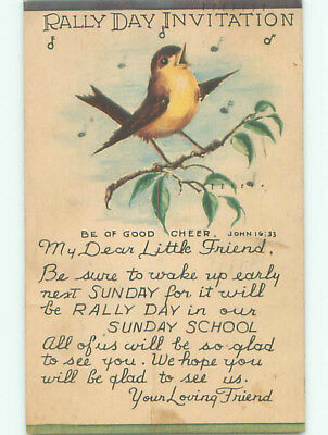 Pre-Chrome religious JOHN BIBLE QUOTE - CUTE YELLOW BREASTED BIRD SHOWN J3269