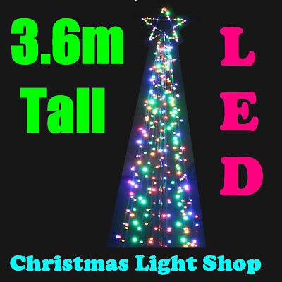 3.6m Multicolour Christmas Tree Star Top & 400 LED Bright Lights Outdoor Garden