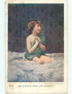 1905 religious GOD BLESS FATHER AND MOTHER - GIRL PRAYING J3683
