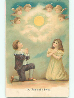 Pre-Linen foreign religious ANGEL FACES IN SKY OVER EUROPEAN KIDS PRAYING J4350