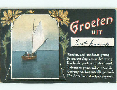 Pre-Linen foreign SAILBOAT BOAT & GROETEN - NETHERLANDS DUTCH FOR GREET J4636