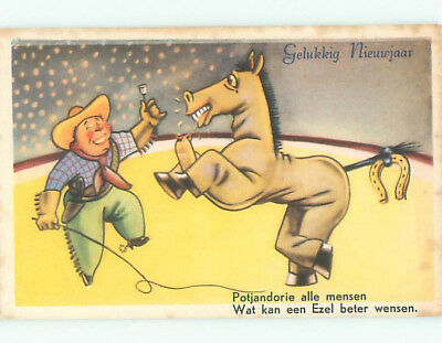 Unused Pre-Chrome new year foreign WESTERN COWBOY & MEN IN HORSE COSTUME J4234
