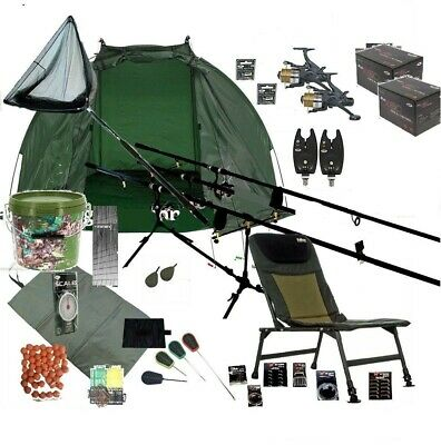 ASL  2 Rod Carp Fishing Set Up Kit Rods Reels Chair GIANT TACKLE PACK