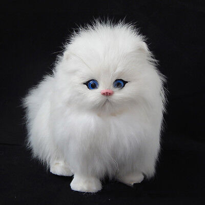 Lovely Simulation Doll Lifelike Cat Plush Animal Toy + Sound Decor Gifts White
