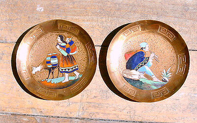 """Pair of 6"""" COPPER PLATES with Enameled Designs; from PERU South American"""