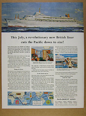 1961 P&O Orient Lines SS CANBERRA Ocean Liner maiden voyage vintage print Ad