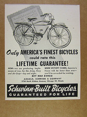 1944 Schwinn Bicycles bike illustration art vintage print Ad