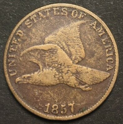 1857 Flying Eagle Cent 1C Penny Large Letter (F487)