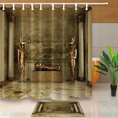 Egyptian Tomb of Pharaoh Bathroom Fabric Shower Curtain Set With Hooks 71Inches