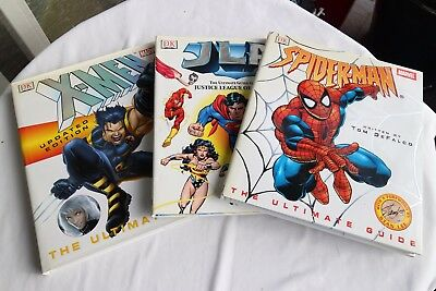 3 Books Ultimate Guide to the Justice League of America, X-Men, Spiderman DK JLA