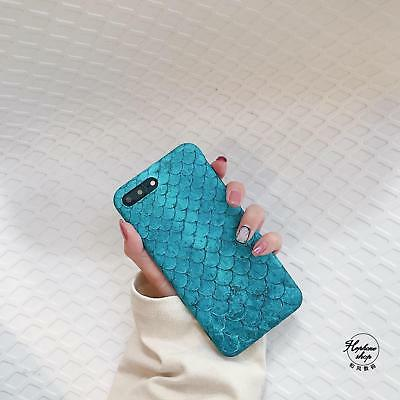 For iPhone8 X 8 Plus 7Plus 6 Beautiful Ocean Blue Mermaid Scale Smart Case Cover