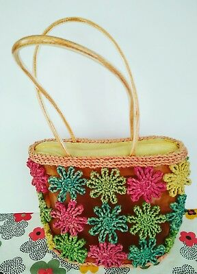 Vintage Retro Straw Beach Bag,Made in the 70's