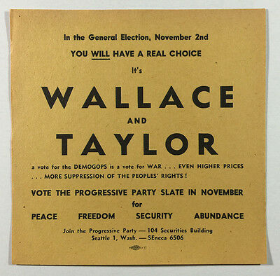 Wallace and Taylor 1948 Progressive Party Political Election Flyer Brochure